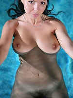 Aurora A at the pool in her white tank and panties. She strips nude to expose her lovely full muff.